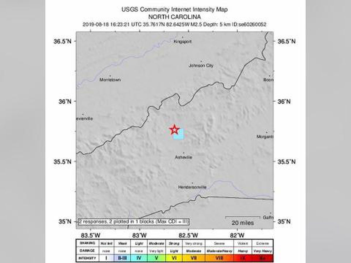 2.5 magnitude earthquake recorded near Asheville in N.C.