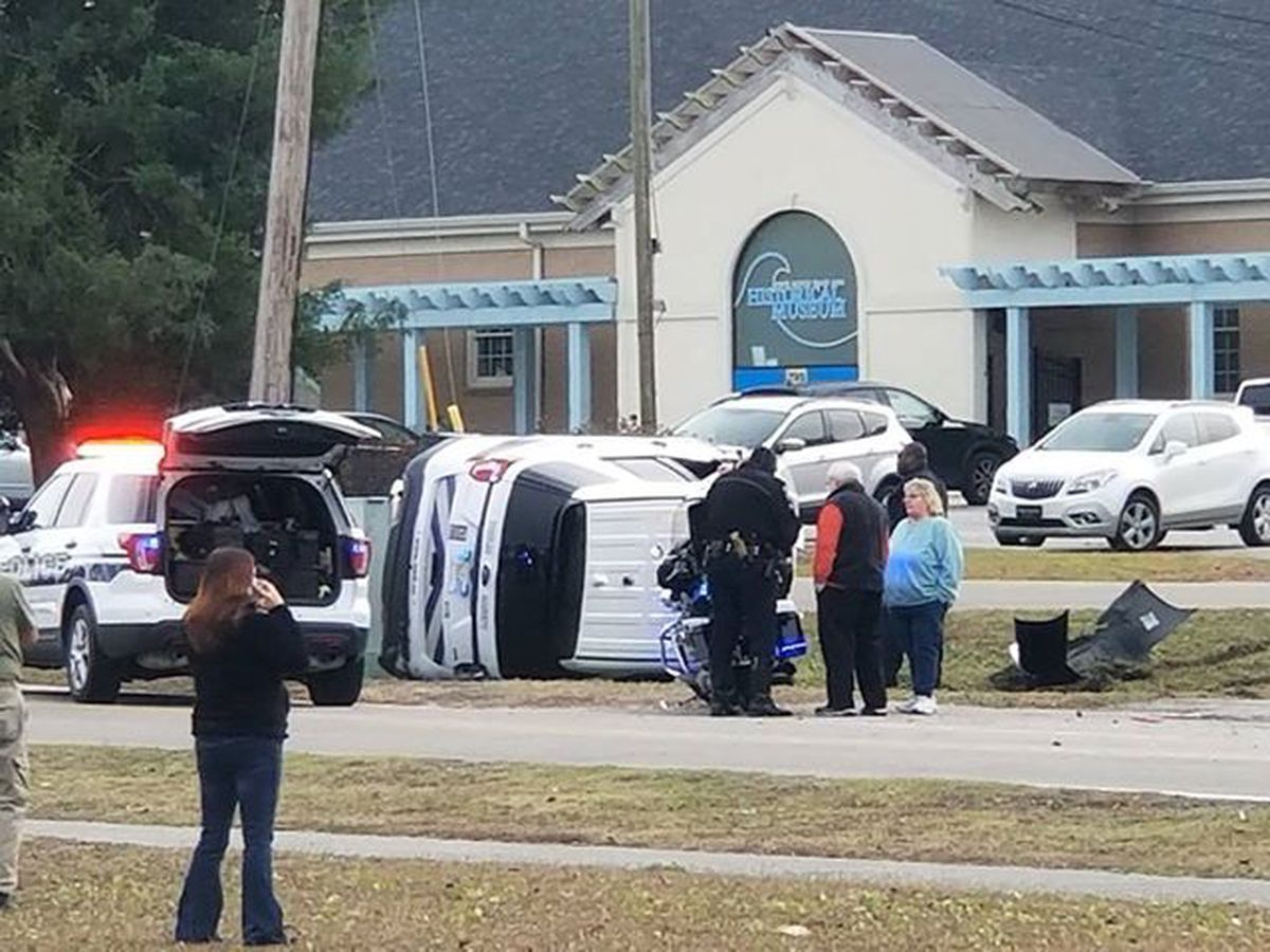 North Myrtle Beach police officer flips vehicle while responding to report of a stolen car