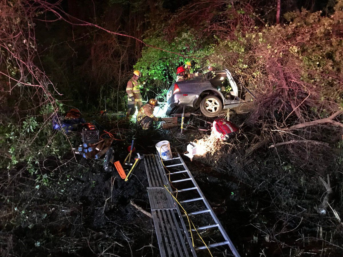 One seriously injured after car gets stuck in trees in Galivants Ferry
