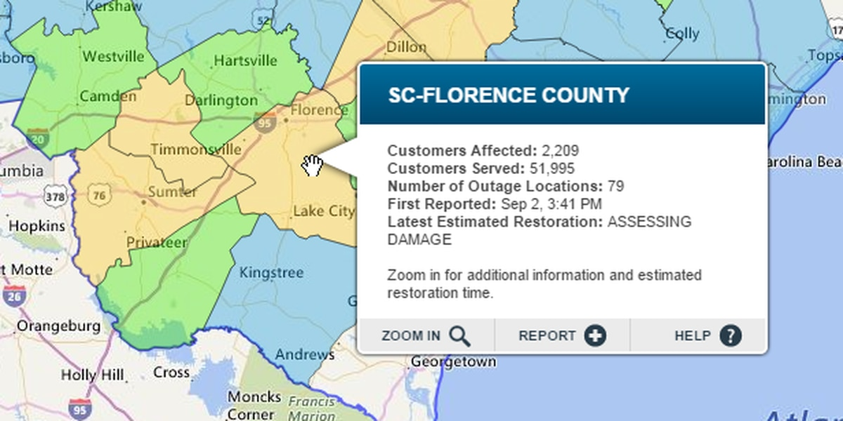 UPDATE: Power outage numbers down across the Pee Dee