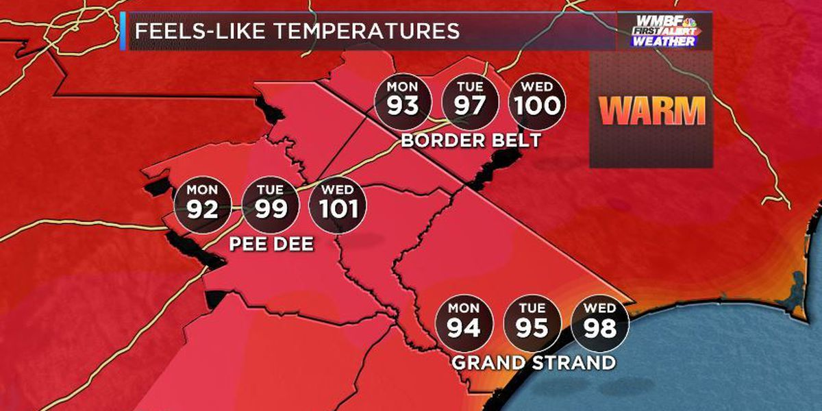 FIRST ALERT: Heat Index climbs back to 100 by midweek