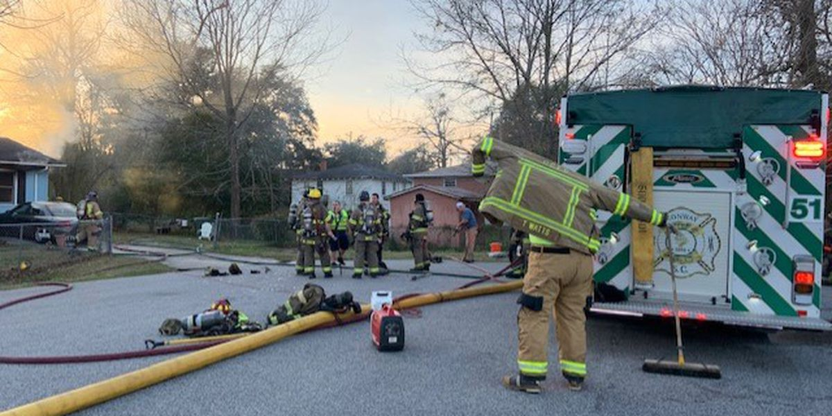 One taken to hospital after fire at Conway home
