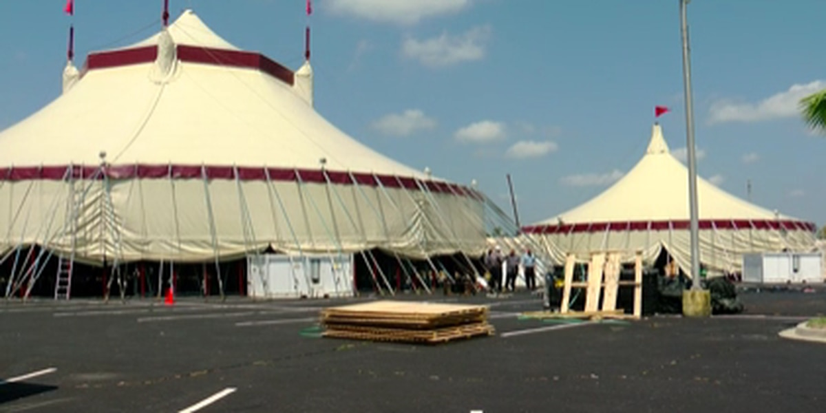 Le Grand Cirque show sets up tents; show runs from June 1 through Sept. 28