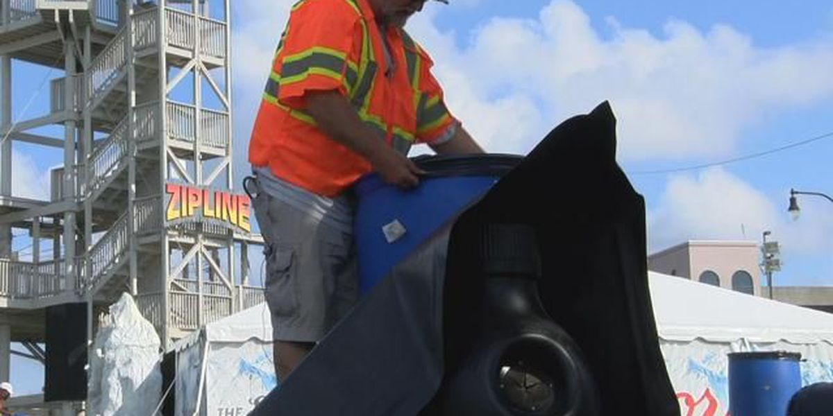 Litter, trash cans line entrance of CCMF as crews work to minimize garbage overflow