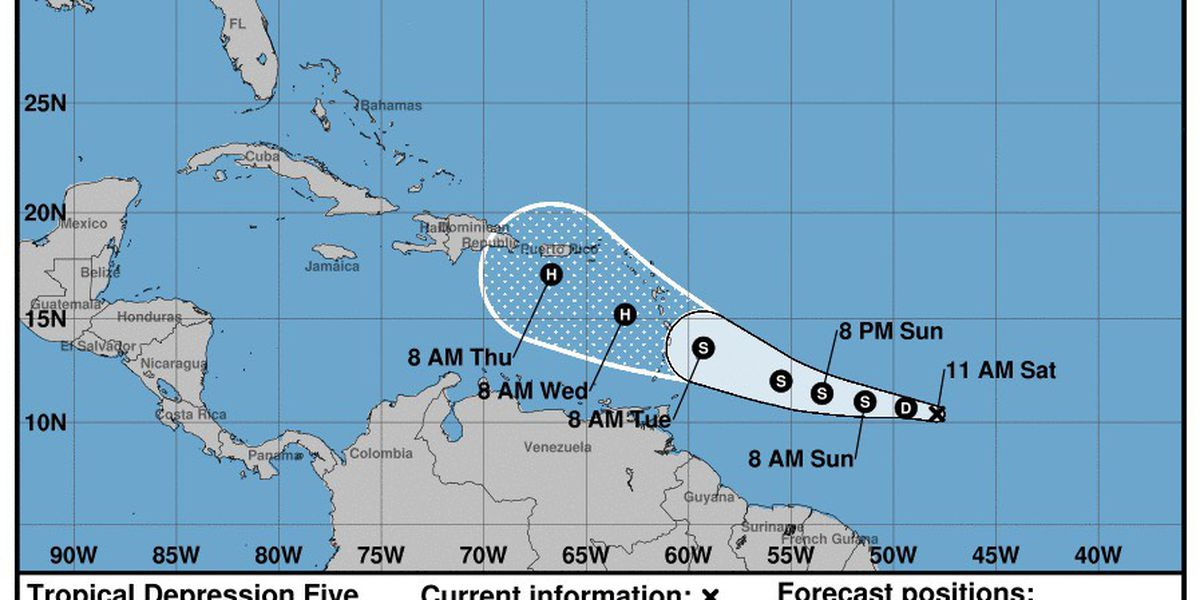 FIRST ALERT: Tropical depression 5 officially forms in the Atlantic