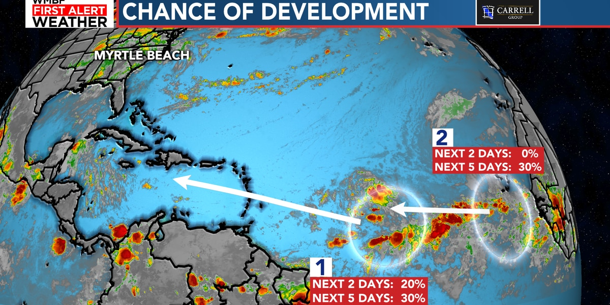 FIRST ALERT: Two potential areas of tropical development