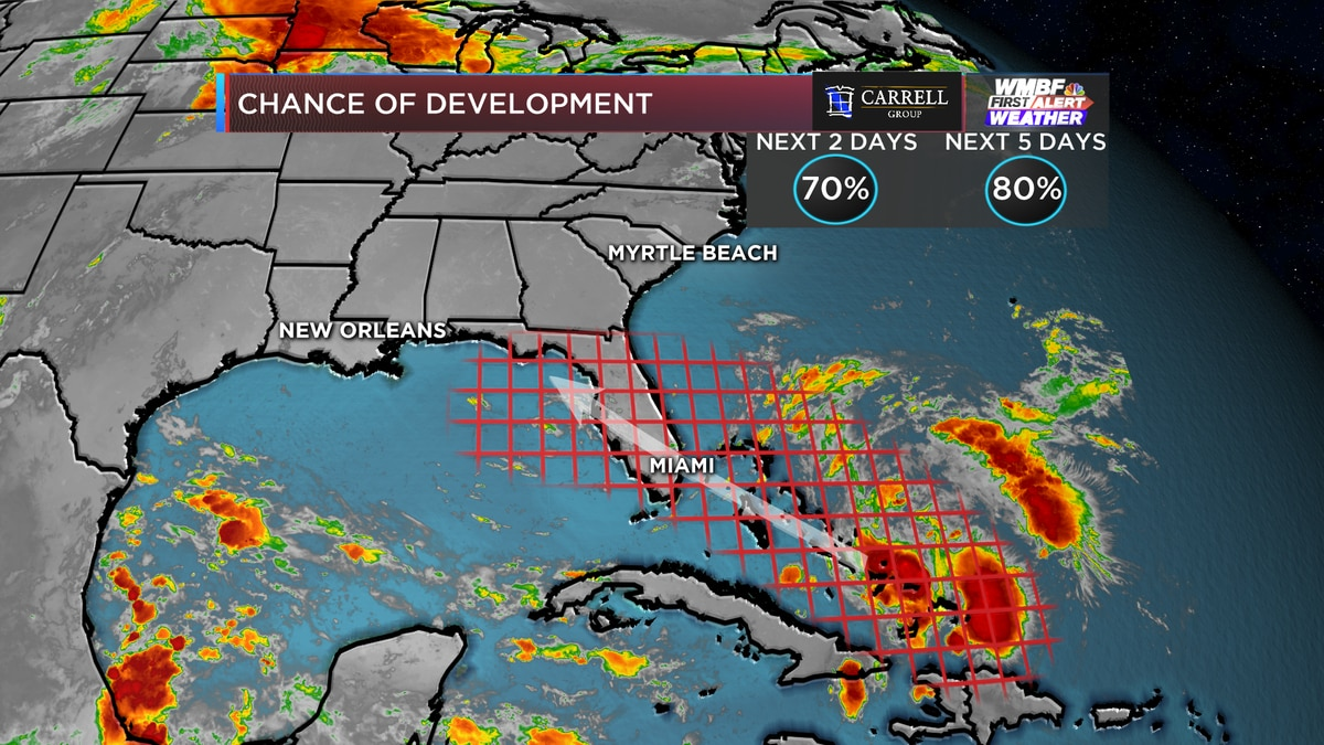 FIRST ALERT: Chances for development increasing as storm moves over Bahamas