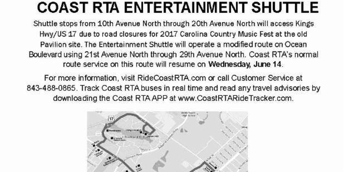 Coast RTA to operate on modified routes June 8-13 due to CCMF