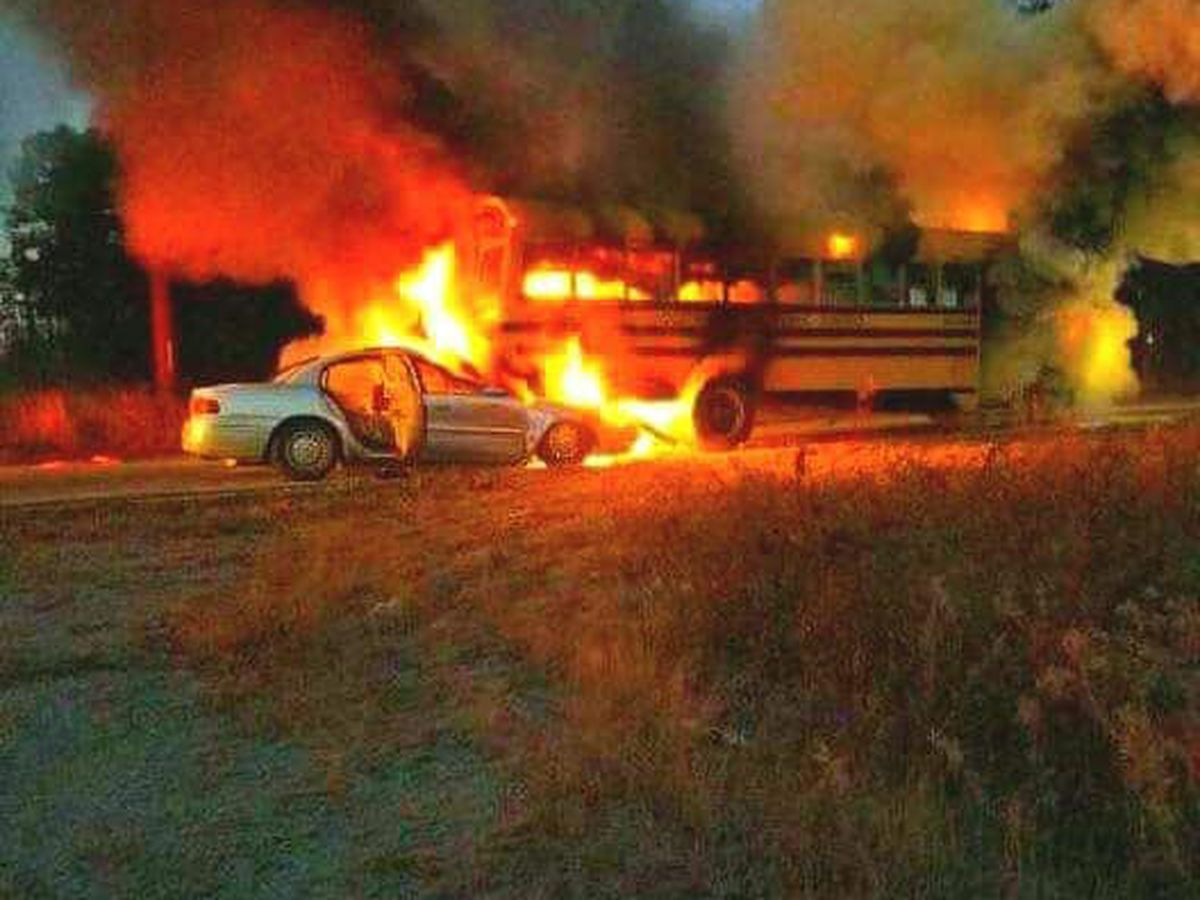No students injured after SC school bus involved in fiery traffic crash