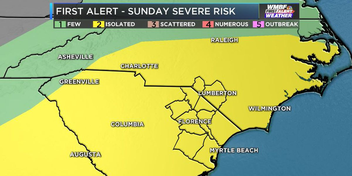 FIRST ALERT WEATHER DAY SUNDAY: Isolated severe storms possible