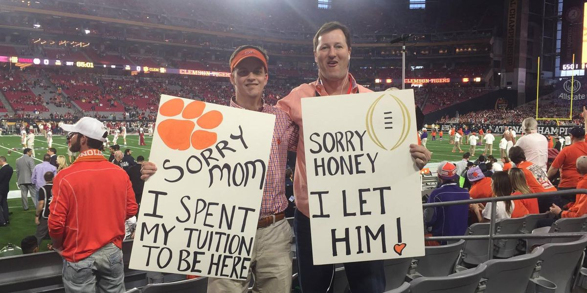 Myrtle Beach financial planner and son go viral with national championship photo