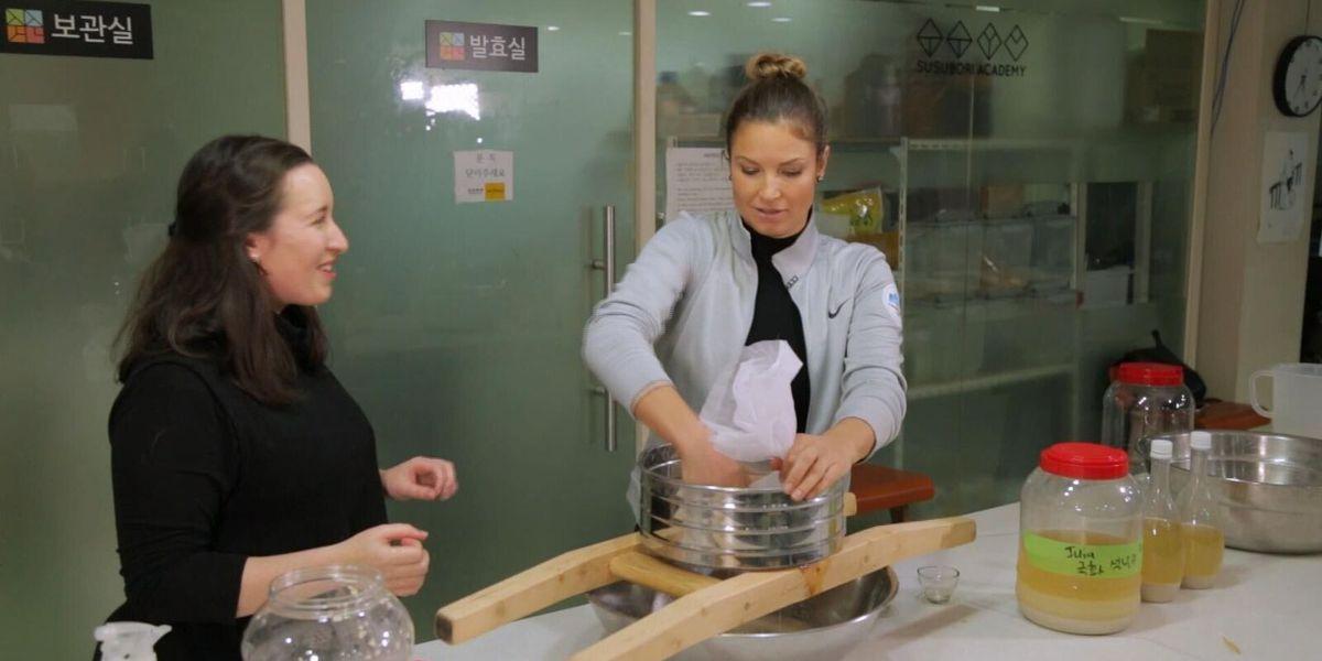 Julia Mancuso learns how to make rice wine