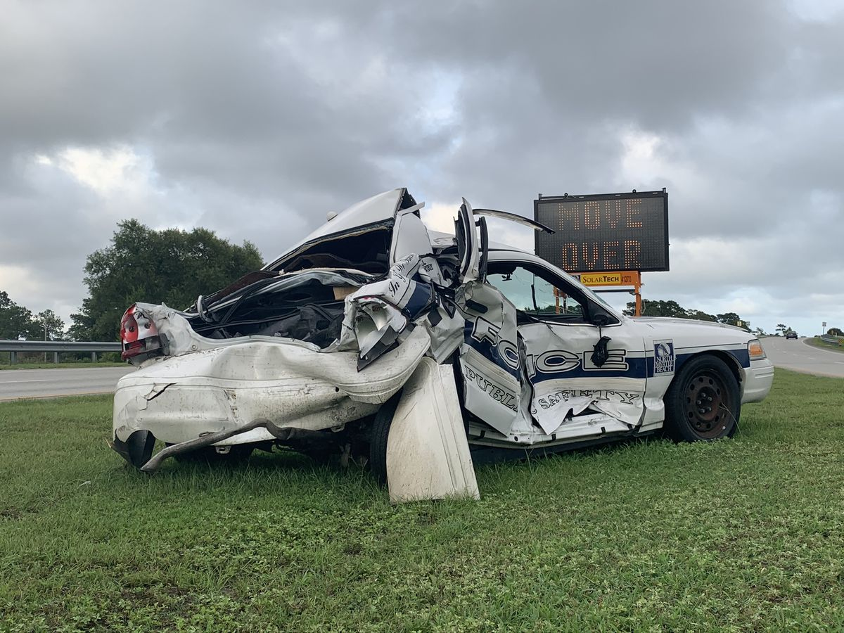 Totaled North Myrtle Beach police cruiser used as reminder for drivers to 'Move Over'