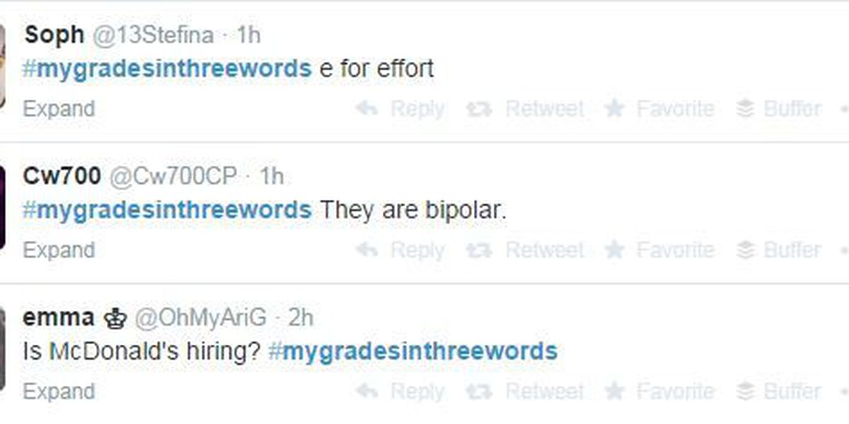 In 3 words: College students sum up their grades on Twitter