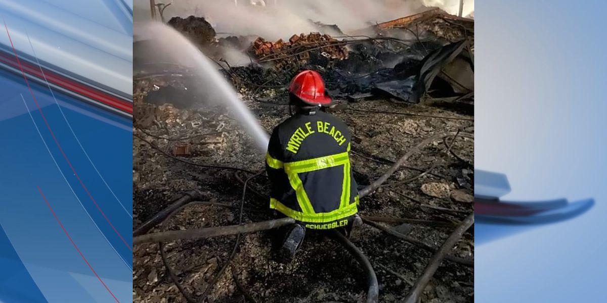 Myrtle Beach, Marlboro County firefighters assist in battling large warehouse blaze in Sumter