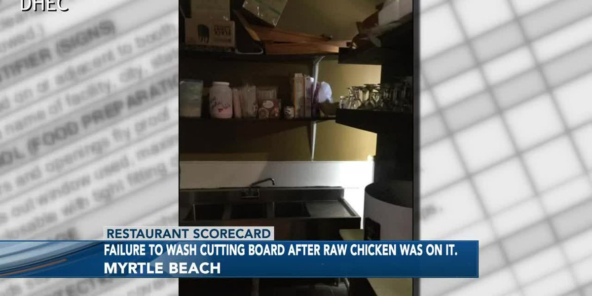 Employee handles raw chicken with bare hands; perfect scores at two eateries