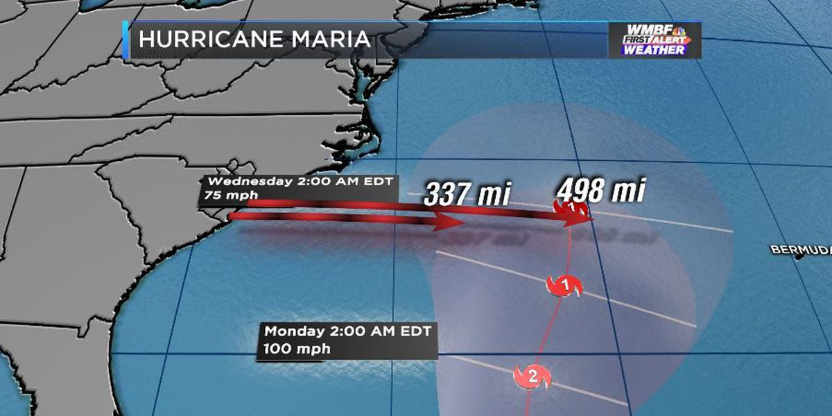 FIRST ALERT: Maria remains a category 3, but showing signs of weakening