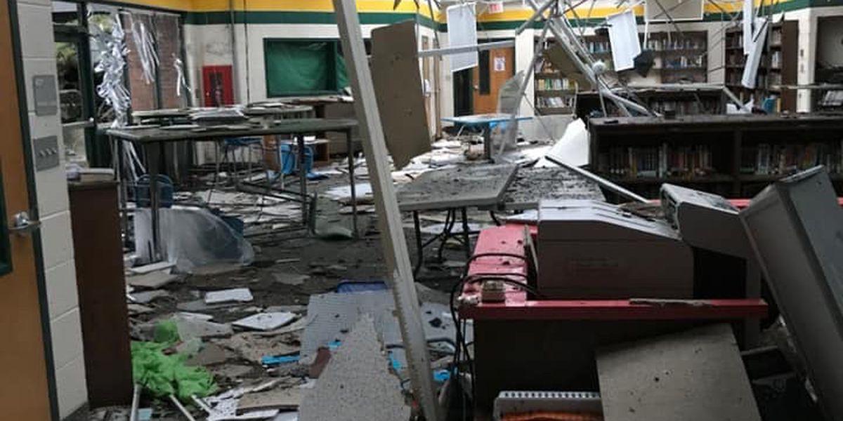 DRONE VIDEO: EF-2 tornado destroys parts of Kershaw County high school