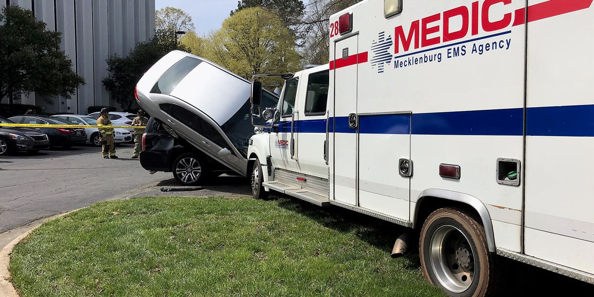 VIDEO: NC EMS ambulance stolen and crashed into parked cars