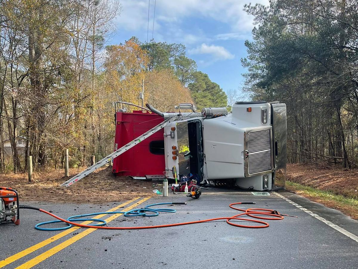One injured in rollover crash involving dump truck in Conway area
