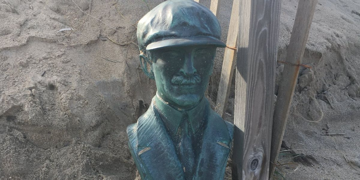 Stolen Orville Wright copper bust found 'tucked' into dunes of NC beach