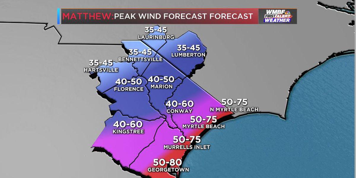 Hurricane force wind gusts possible along the immediate beaches