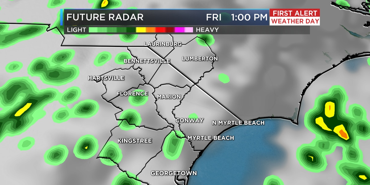 Showers return Friday, clearing skies into the weekend