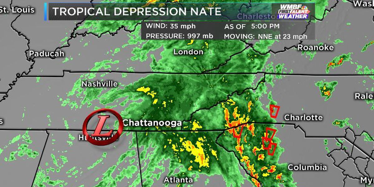 FIRST ALERT: Nate is no longer a Tropical Storm. Heavy rain still likely for Western Carolinas.