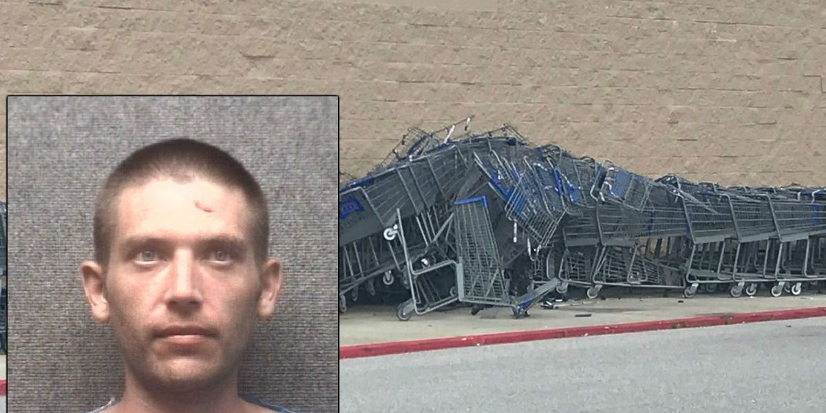 Man arrested after stealing car, driving erratically through parking lot, crashing into shopping carts