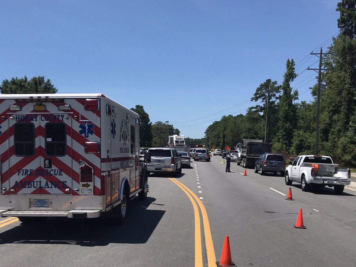 Crash involving motorcycle closes lanes on S.C. 707