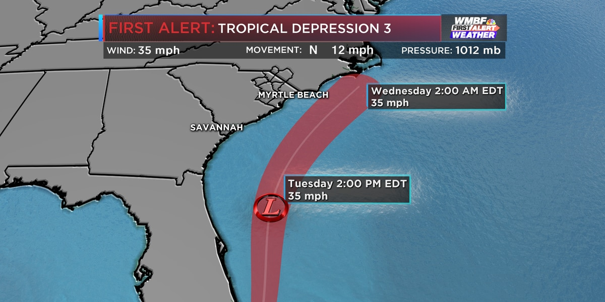 FIRST ALERT: Tropical Depression 3 continues to move north, will dissipate off the South Carolina coast