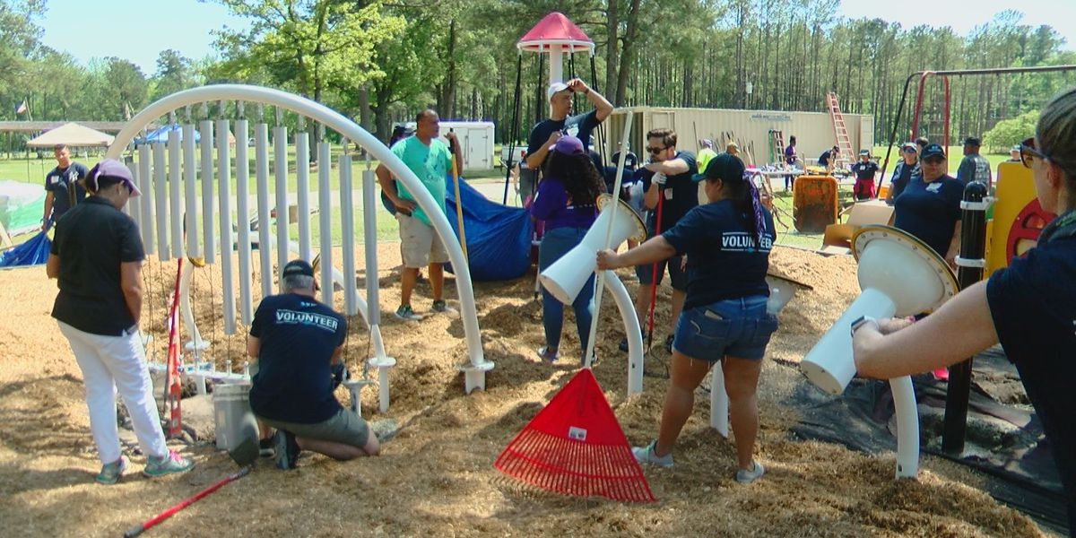 Volunteers build inclusive playground in just six hours