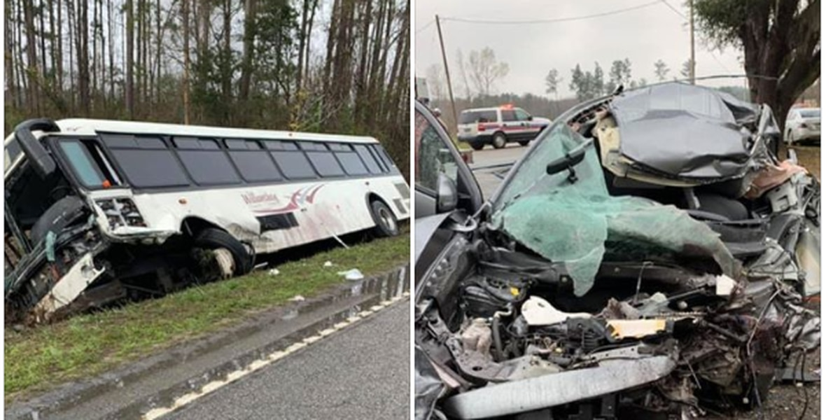 23 sent to hospital after 'serious' car vs  bus crash near