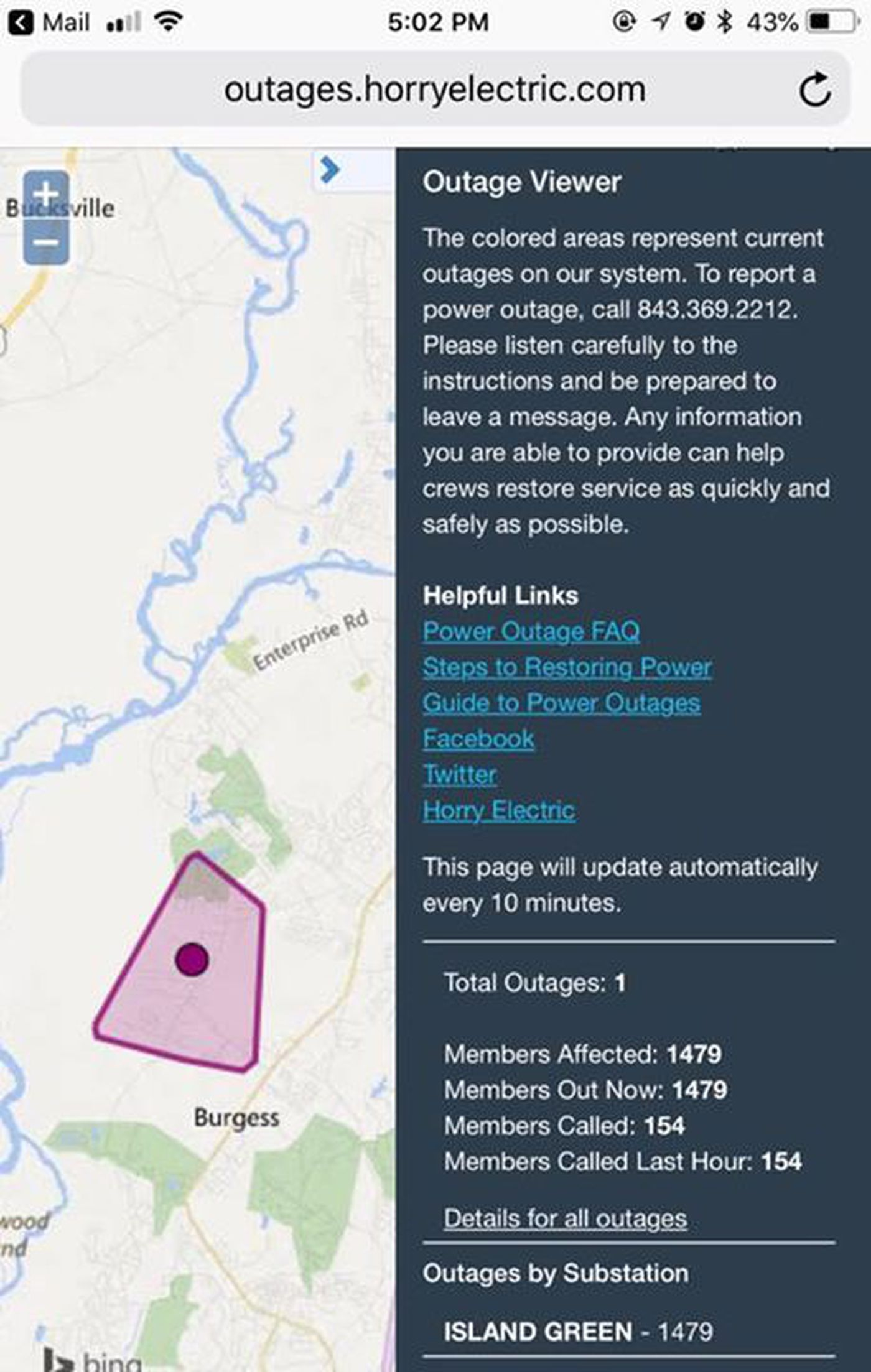 Horry Electric Cooperative Experiencing Outage