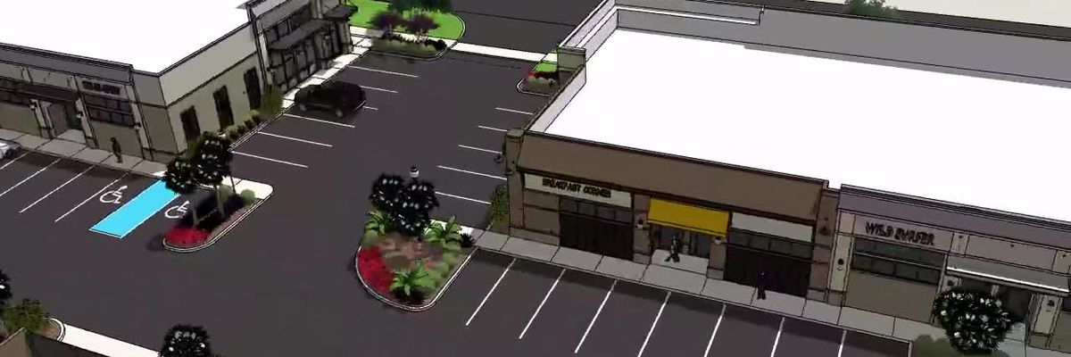 Animation of rendering for proposed Myrtle Beach shopping plaza
