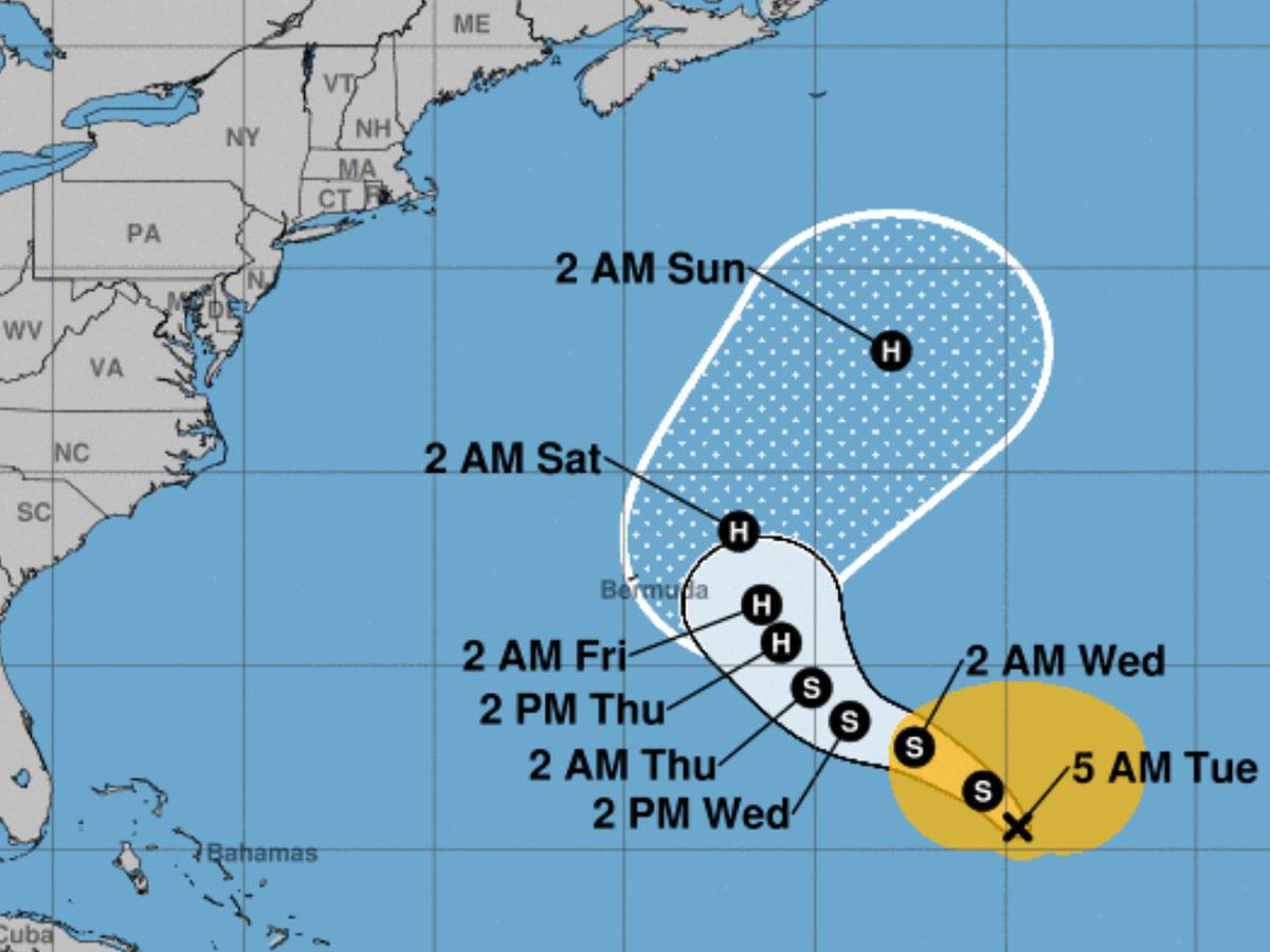 Epsilon strengthens to a hurricane as it approaches Bermuda