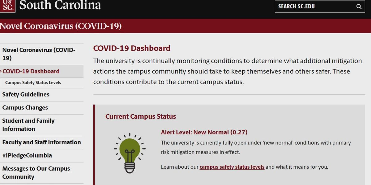 New online UofSC COVID-19 Dashboard as students begin classes