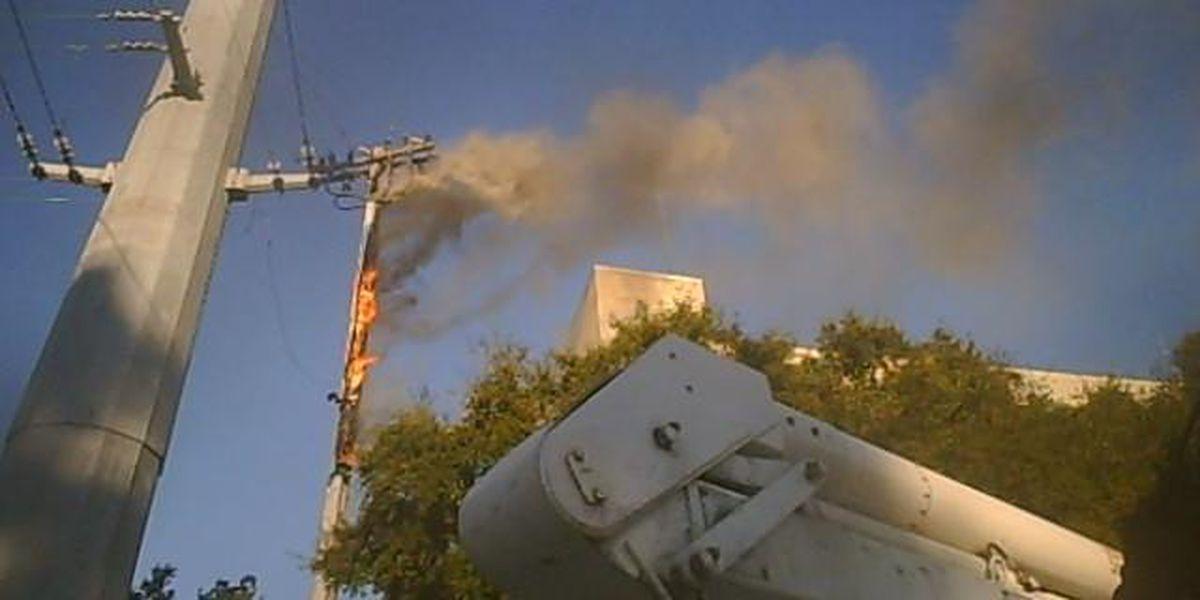 Helmet cam captures electrical pole fire in Myrtle Beach
