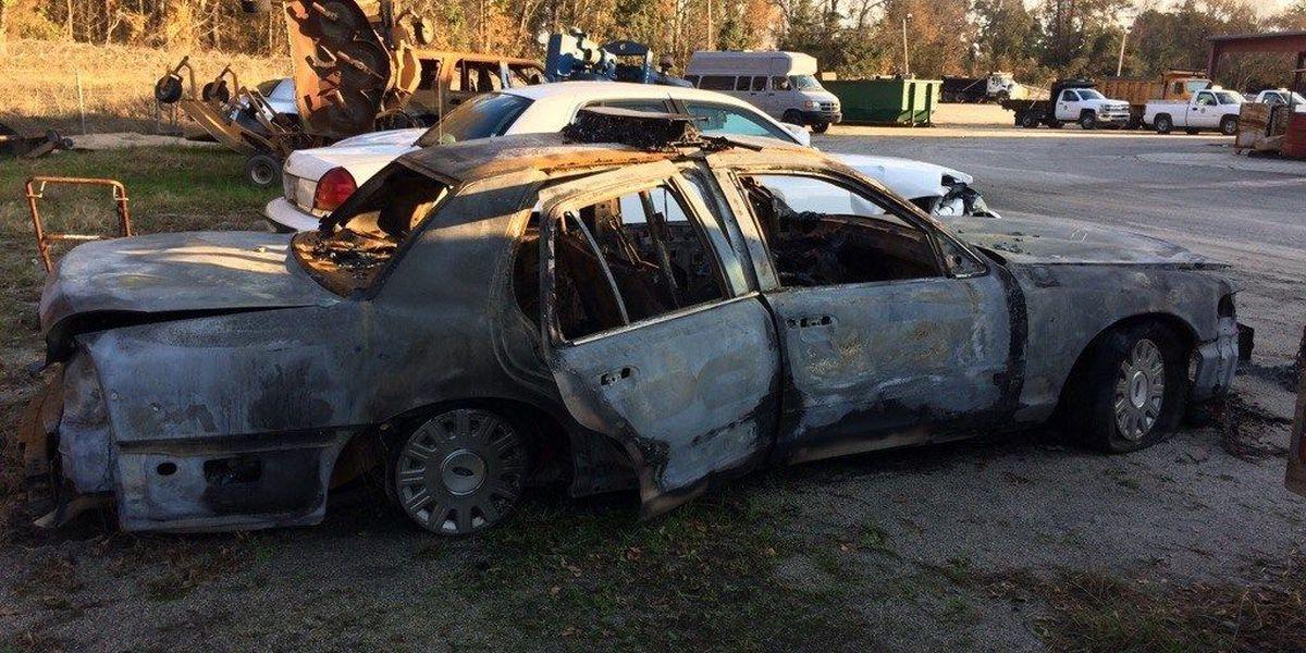 Lumberton police continue to investigate burned department cruiser
