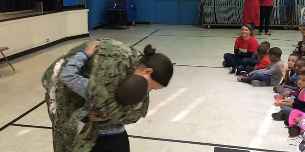 Navy mom surprises 7-year-old son at his NC elementary school