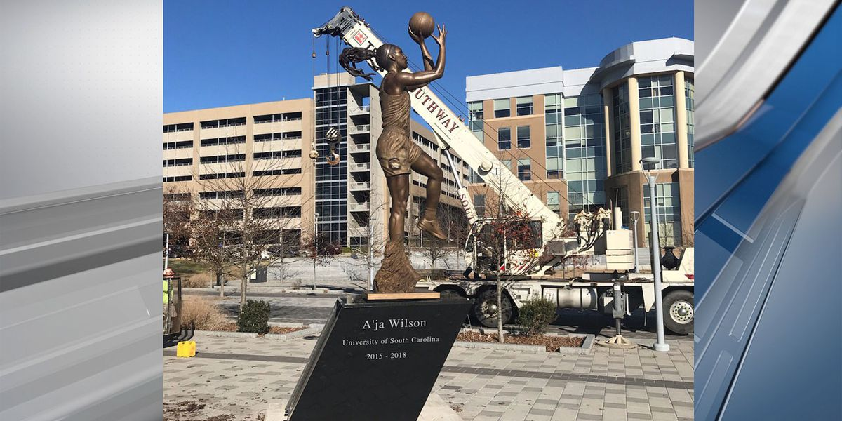 Statue of A'ja Wilson unveiled outside of Colonial Life Arena