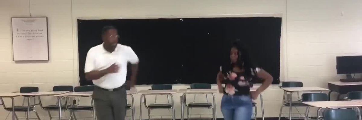 Conway Middle School teacher gets dance lesson from student