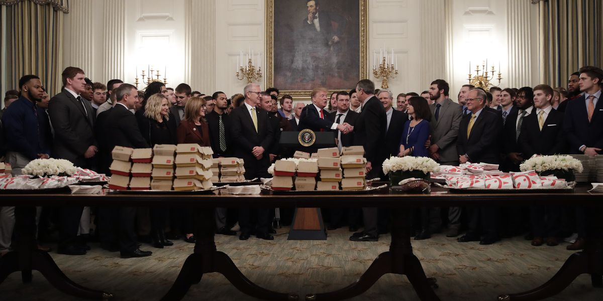 Trump feeds FCS national champs McDonald's, Chick-Fil-a during White House visit