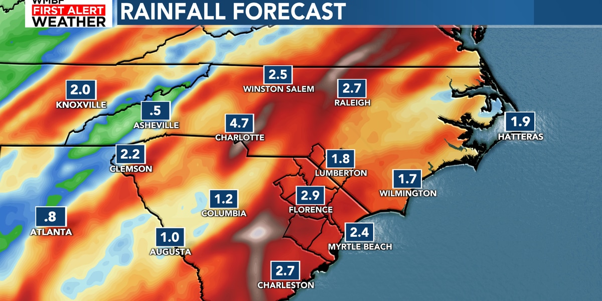 FIRST ALERT: Tropical moisture to bring heavy rainfall to the Carolinas