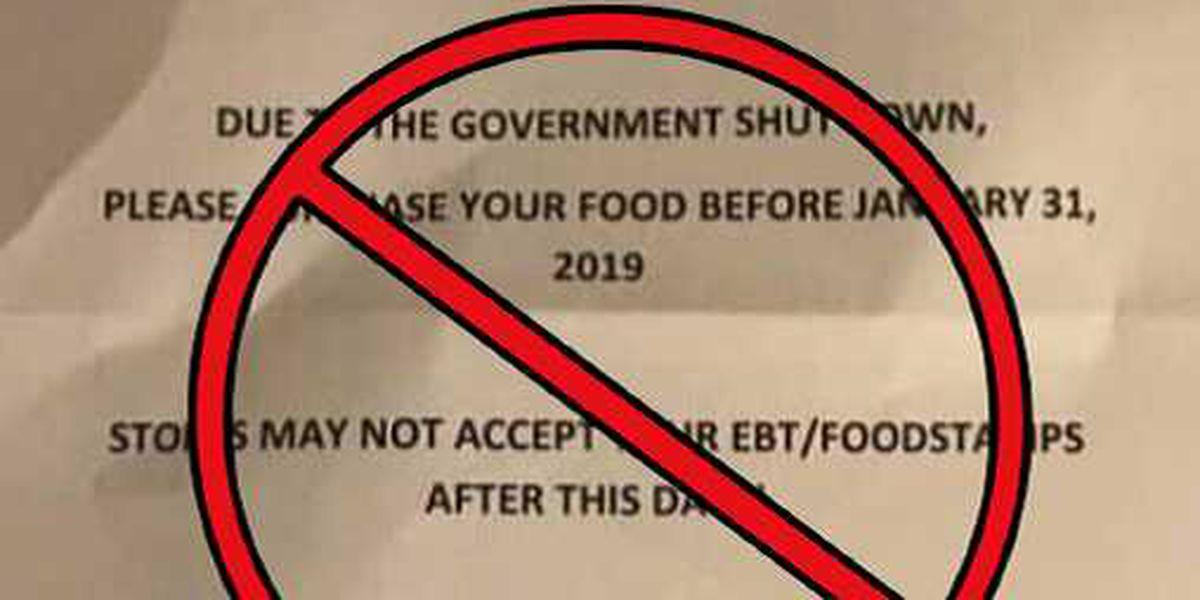 Fake flyer spreading on social media regarding February SNAP