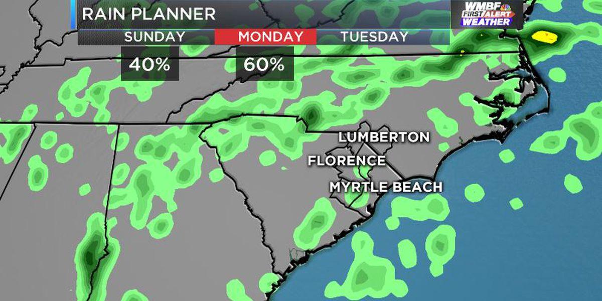 FIRST ALERT: Storm chances lower Sunday, more rain starting Monday