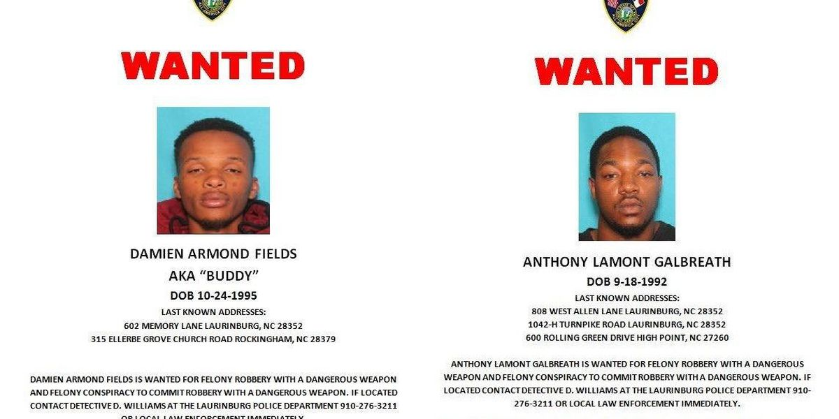 "Police seek ""armed and dangerous"" robbery suspects"
